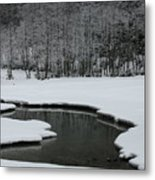 Creek In Snowy Landscape Metal Print