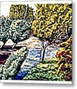 Creek In The Forest Framed Metal Print