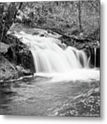 Creek Merge Waterfall In Black And White Metal Print