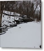 Creeks Battles The Snow And Cold To Remain Flowing. Metal Print