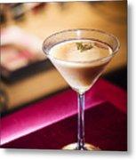 Creme Caramel Martini Cocktail In Bar Metal Print