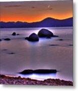 Crescent Moon Above Tahoe Metal Print
