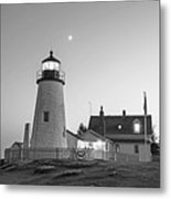 Crescent Moon Over The Pemaquid Point Lighthouse Pemaquid Me Black And White Metal Print
