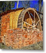 Crescent Moon Ranch Water Wheel Metal Print