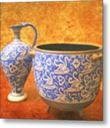 Crete Blue And Gold Jug And Bowl Metal Print