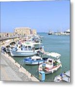 Crete Island Harbour  Metal Print