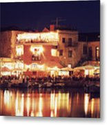 Crete. Rethymnon Harbor At Night Metal Print
