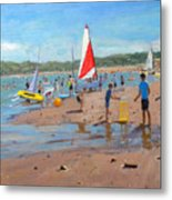 Cricket And Red And White Sail Metal Print