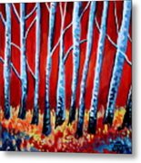 Crimson Birch Trees Metal Print