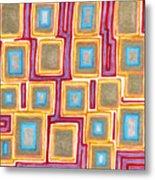 Crimson Gold And Squares  Metal Print