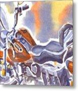 Crimson Motorcycle In Watercolor Metal Print