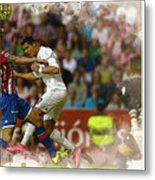 Cristiano Ronaldo Heads The Ball During The Spanish League Footb Metal Print