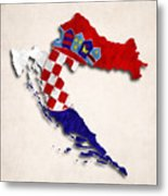 Croatia Map Art With Flag Design Metal Print
