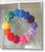 Crochet Rainbow Wreath Metal Print