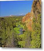 Crooked River And Mt Hood Oregon Metal Print