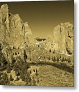 Crooked River At Smith Rock State Park Sepia Metal Print