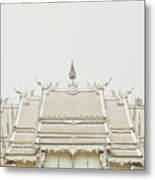 Crop Of A Exquisite And Magnificent Roof Of White Temple Aka Wat Rong Khun In Thailand Metal Print