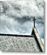 Cross Against An Angry Sky Metal Print