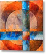 Cross And Circle Abstract Metal Print