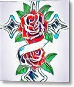Cross And Roses Tattoo Metal Print
