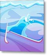 Cross County Skier Abstract Metal Print