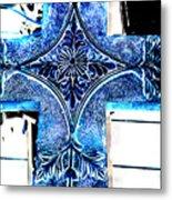 Cross In Blue Metal Print