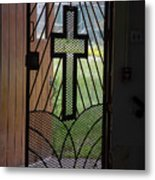 Cross On Church Door Open To Prison Yard Fence With Razor Wire Metal Print