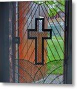 Cross On Church Door Open To Prison Yard With Light Metal Print
