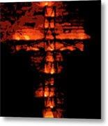 Cross On Fire Metal Print