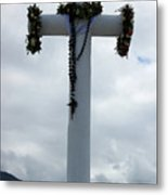 Cross With Flower Wreaths Metal Print