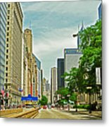 Crossing Chicago's South Michigan Avenue Metal Print