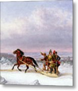 Crossing The Saint Lawrence From Levis To Quebec On A Sleigh Metal Print