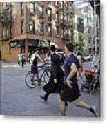 Crossing The Street In Dumbo Metal Print