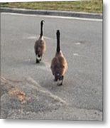 Crossing The Street Metal Print