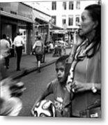 Crossing The Street Mono Metal Print