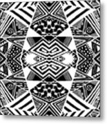 Crossroads To Ornamental - Abstract Black And White Graphic Drawing Metal Print