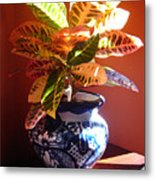 Croton In Talavera Pot Metal Print