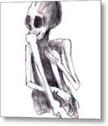 Crouched Skeleton Metal Print
