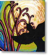 Crow And Full Moon In Winter Metal Print
