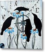 Crow Flowers Metal Print