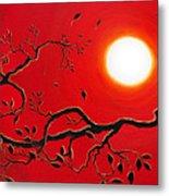Crow In Crimson Sunset Metal Print