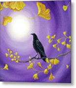 Crow In Ginkgo Leaves Metal Print