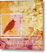 Crow In Orange And Pink Metal Print