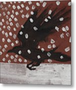 Crow In Snow Metal Print