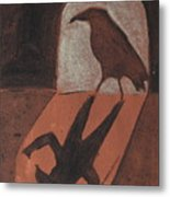 Crow In The Doorway Of Life With Woad Metal Print