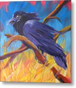 Crow In The Grass 5 Metal Print