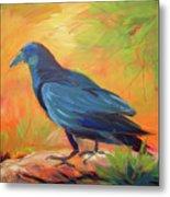Crow In The Grass 7 Metal Print