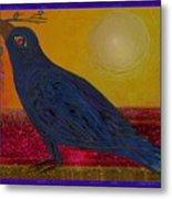 Crow In The Sun Metal Print