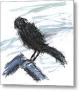 Crow In The Wind Metal Print
