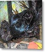 Crow Mid Flip Metal Print by YoMamaBird Rhonda